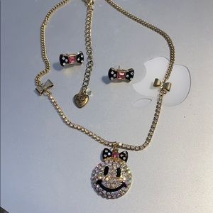 Betsey Johnson smiley face necklace & earrings set